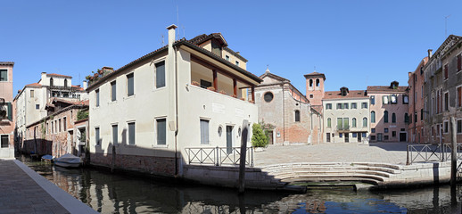 Square (campo) and the Temple of San Zan Degola. Venice