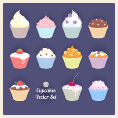 Set of assorted vector cupcakes on dark background.