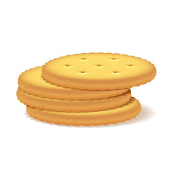 Stack of crackers on white background.