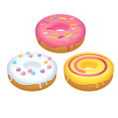 Set of three colorful realistic donuts on white background.