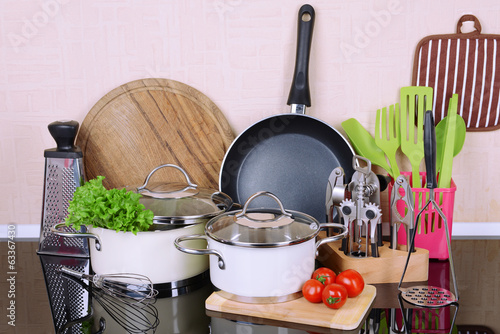 canvas print picture Kitchen tools on table in kitchen