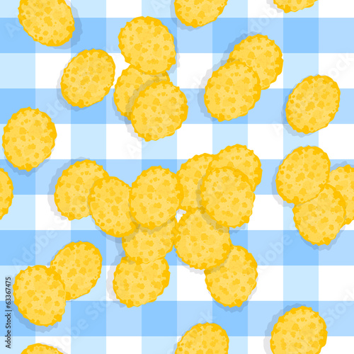 Seamless Pattern - Scattered Corn Flakes on Plaid Tablecloth.
