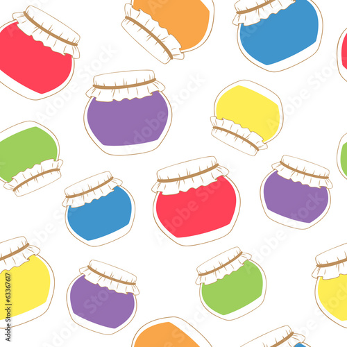 Seamless texture of colorful jam jars on white background.