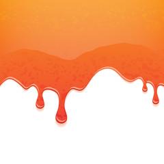 Orange jam on white background. Flowing liquid.
