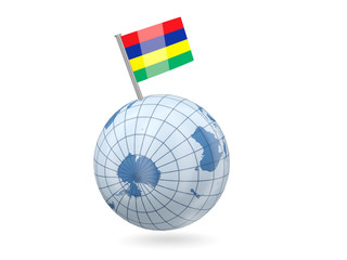 Globe with flag of mauritius