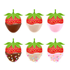 Strawberries in chocolate with sprinkles isolated on white back.