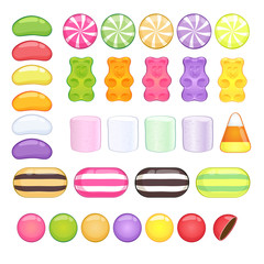 Set of different sweets on white background. Glossy candies.
