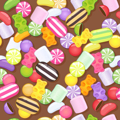 Seamless sweets pattern. Assorted candies on brown back.