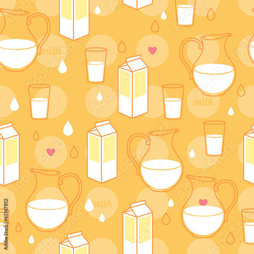 Seamless milk theme pattern.Yellow and red colors.