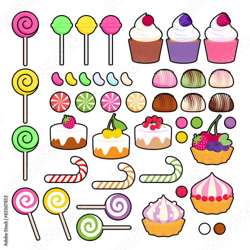 Set of vector sweets (candies) in simplified style