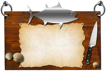 Fish Menu - Wooden Signboard