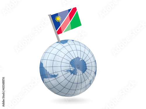Globe with flag of namibia