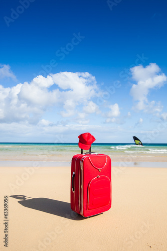 red trolley at the beach