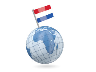 Globe with flag of netherlands