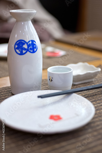 Japanese style table set and sake