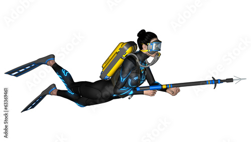 Female Diver with Spear Gun