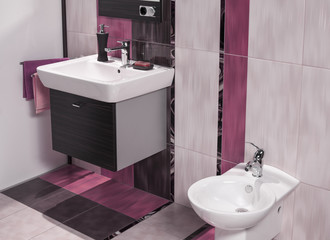 detail of modern bathroom with sink and bidet