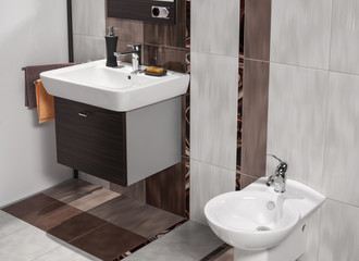 detail of modern bathroom with white sink and bidet