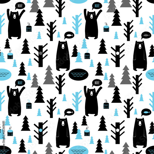 Seamless pattern with forest and bears. Vector background with b