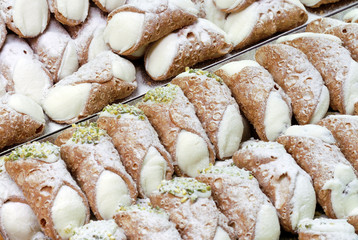 italian pastries, cannoli, typical sweet food of Sicily, Italy
