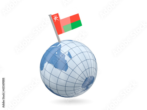 Globe with flag of oman