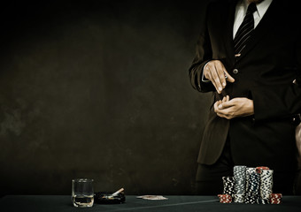 Young man playing poker