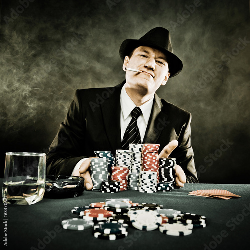 Young man playing poker