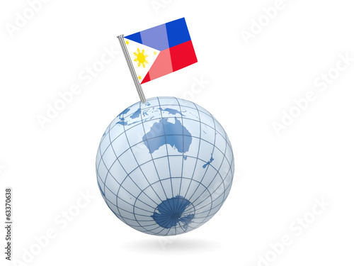 Globe with flag of philippines
