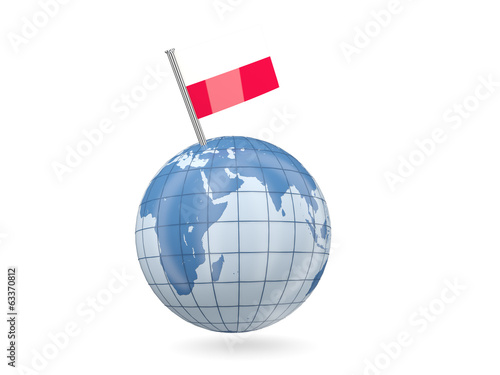 Globe with flag of poland