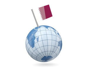 Globe with flag of qatar