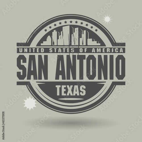 Stamp or label with text San Antonio, Texas inside, vector