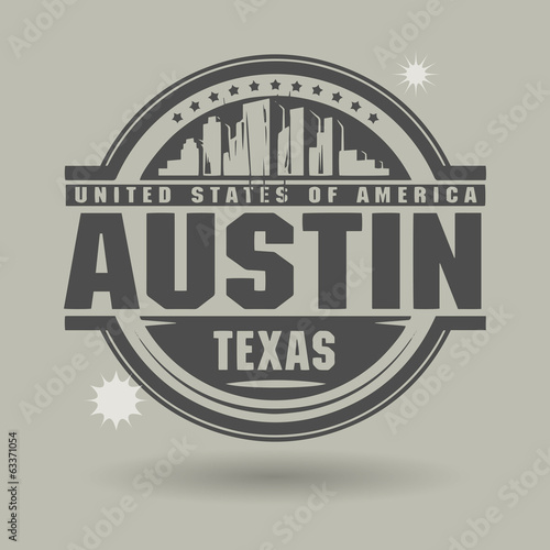 Stamp or label with text Austin, Texas inside, vector