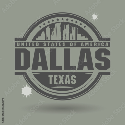 Stamp or label with text Dallas, Texas inside, vector