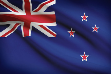 Series of ruffled flags. New Zealand.