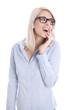 Junge Business Frau isoliert in Bluse blau erstaunt