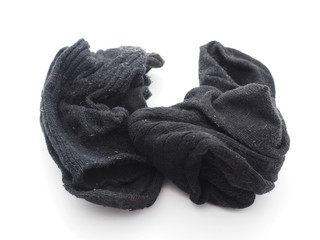 crumpled socks on white background