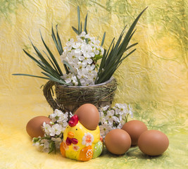 eggs and spring flowers