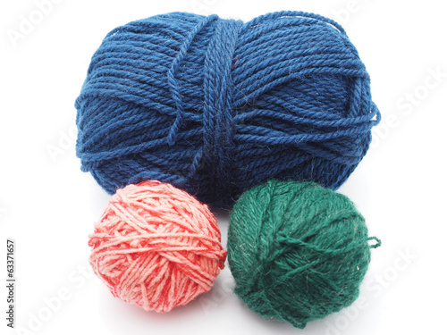 tangle with woolen threads on a white background