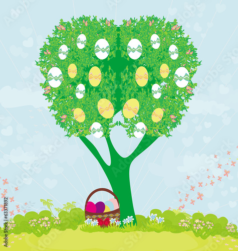 abstract tree with Easter eggs
