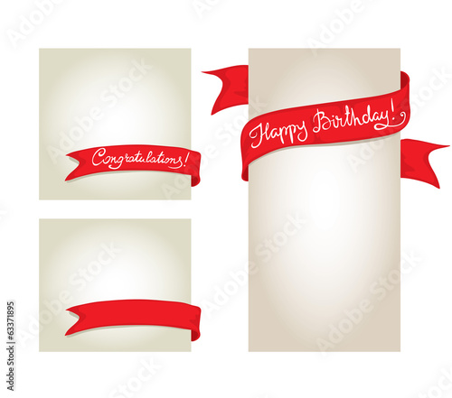 A set of cards with red ribbons