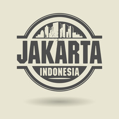 Stamp or label with text Jakarta, Indonesia inside, vector