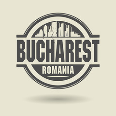 Stamp or label with text Bucharest, Romania inside