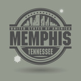 Stamp or label with text Memphis, Tennessee inside poster