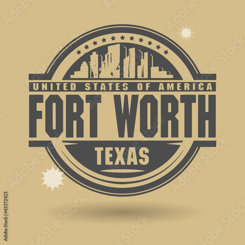 Stamp or label with text Fort Worth, Texas inside, vector