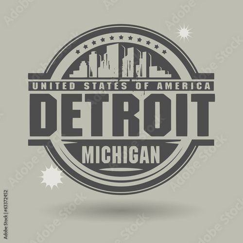 Stamp or label with text Detroit, Michigan inside, vector