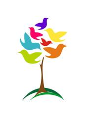 Birds Tree Colourfull