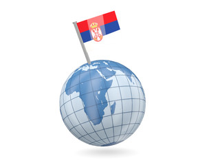 Globe with flag of serbia