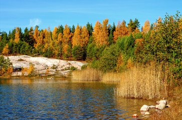 Autumn lake landscape with bright colors