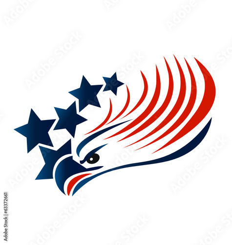 Bald Eagle American Flag logo vector