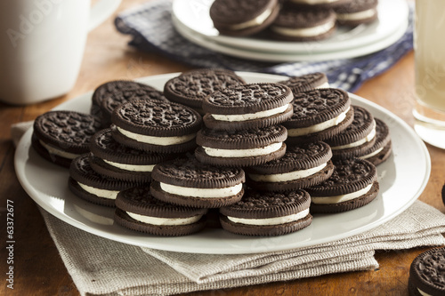 Unhealthy Chocolate Cookies with Cream Filling